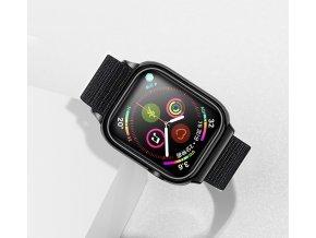 USAMS ZB073 športovo elegantný Nylon remienok pre Apple Watch 4 44mm čierny