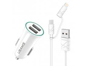 Usams CC013 Dual USB 2.1A univerzálna autonabíjačka a 2 v 1 (Micro USB, iPhone Lightning) kábel, biely set