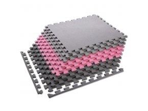 Ochranná puzzle podložka ONE Fitness MP10 růžovo-šedá