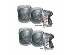 COOL MAX 3 sada chráničů kolen,loktů a zápěstí silver XL