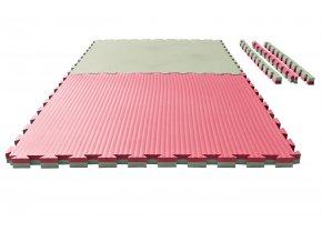 Tatami puzzle - 1m x 1m x 4cm - zeleno/červená