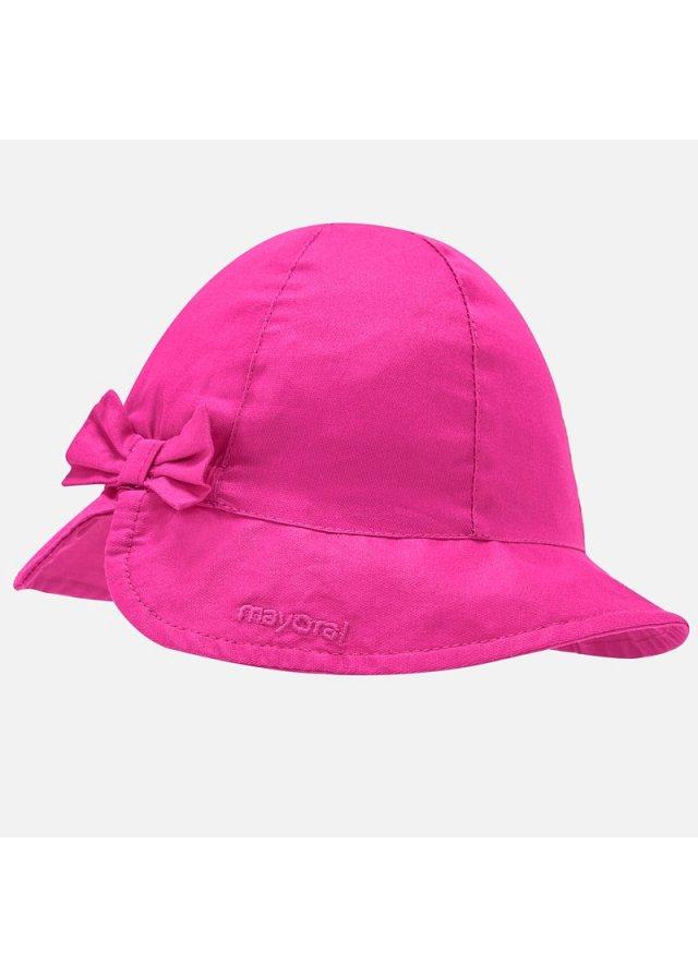 Bavlněný klobouček s mašlí, Fuchsia
