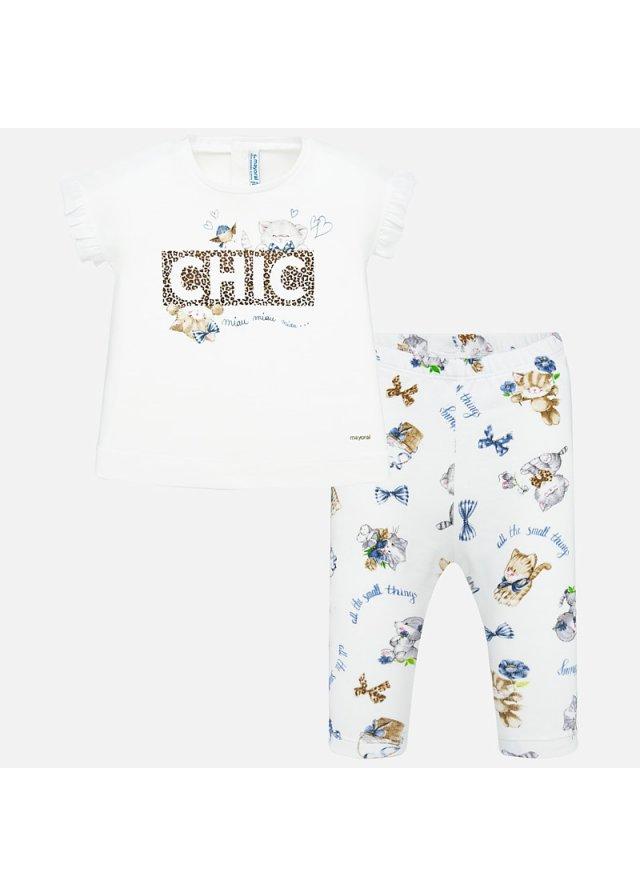 Tričko s nápisem Chic a vzorované legíny set 2 kusy, White