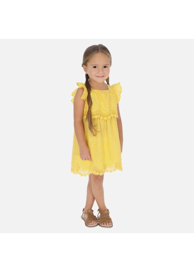 Vyšívané popelínové šatičky, Yellow