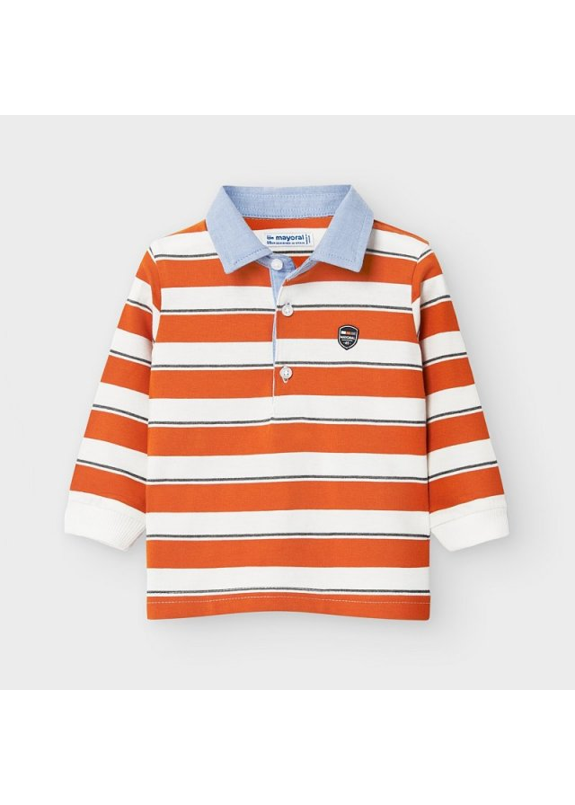 Pruhované tričko polo s dlouhým rukávem, Cheddar