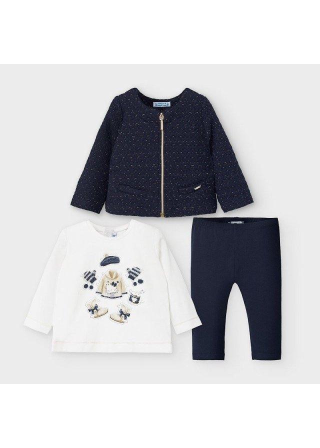 Setík mikinka, tričko a legínky, Navy