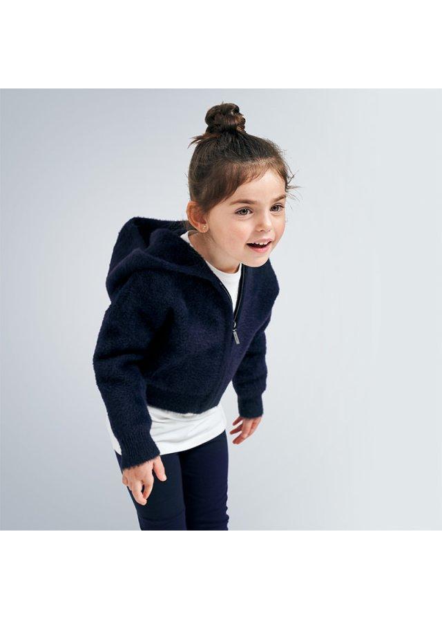 Pletená mikina na zip s kapucí, Navy