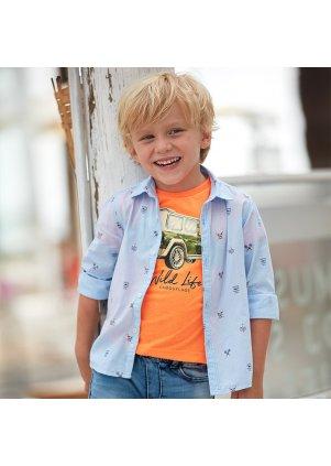 Vzorovaná košile s dlouhým rukávem, Lightblue