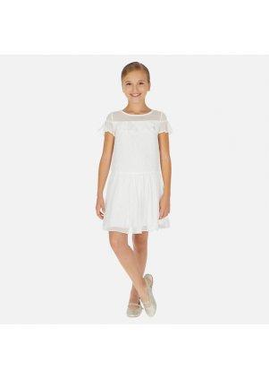 Šifonové šaty s volánkem, White