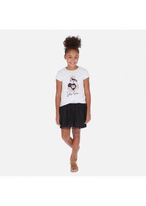 Šaty s krátkým rukávem a skládanou sukní, White