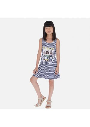 Pruhované šaty s volánkem, Indigo