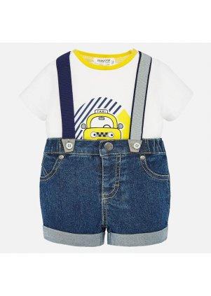 Džínové šortky s kšandami a tričko set 2 kusy, Pineapple