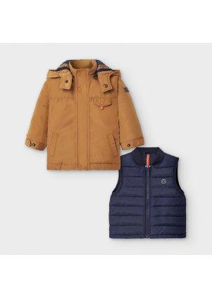 Zimní kabátek s odepínací vestou, Almond