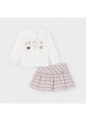 Setík s kostkovanou sukýnkou a tričkem s baletkama, Rose