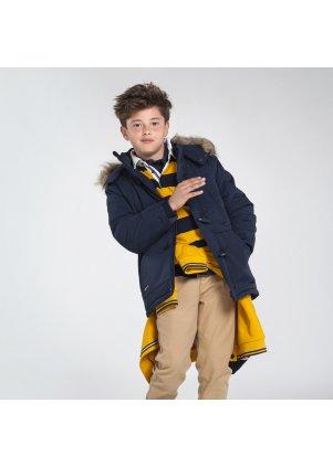 Zimní kabát s kožešinou na kapuci, Deep Blue