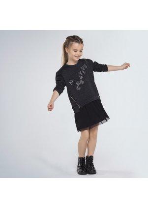 Kombinované šaty s mikinou a plisovanou sukní, Black