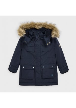 Zimní kabát s kožešinkou na kapuci