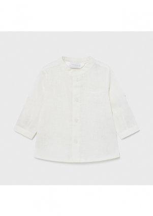 Lněná košile s mandarinkovým límečkem