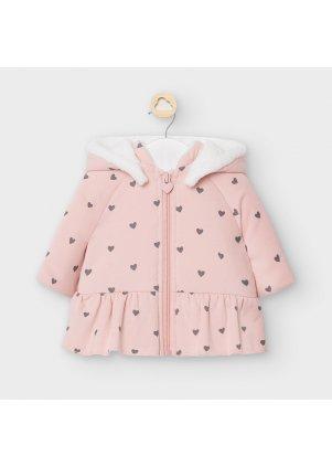Bavlněný kabátek s kožíškem, Dusty pink