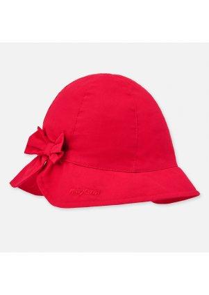 Bavlněný klobouček s mašlí, Red