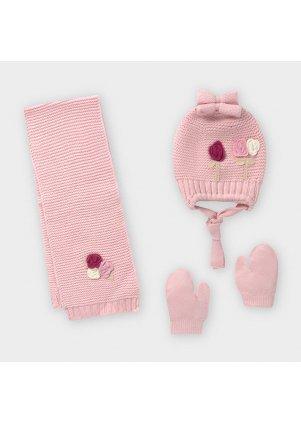 Čepice, rukavice a šála set, Rose