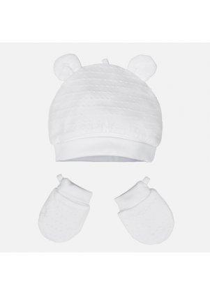 Čepička a rukavičky set, White