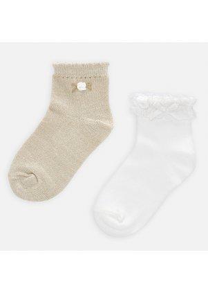 Jednobarevné zdobené ponožky set 2 kusy, Sand
