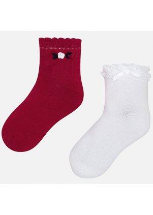 Jednobarevné zdobené ponožky set 2 kusy, Red
