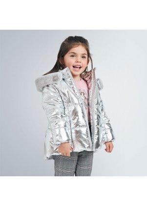 Metalický zimní kabátek (Barva Silver, Velikost 4)