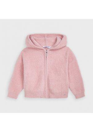 Pletená mikina na zip s kapucí, Blush