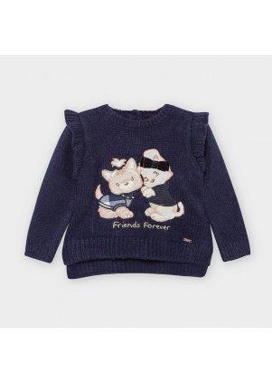 Pletený svetřík zdobený volánkem, Navy