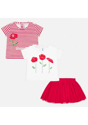 Sada dvou triček s tylovou sukýnkou, Red