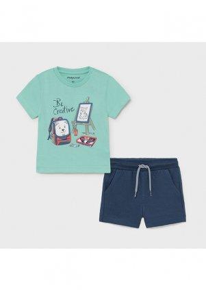 Setík tričko a bavlněné šortky, Aqua