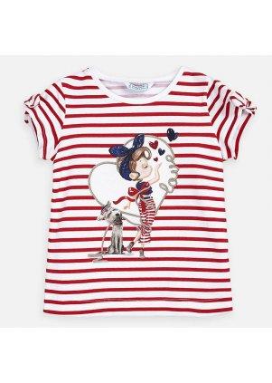 Tričko s krátkým rukávem a otvory na ramenou, White-Red