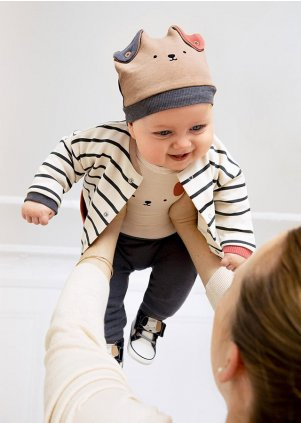 ECOFRIENDS knit set for newborn boy, Steel (Velikost 0-1 Month)