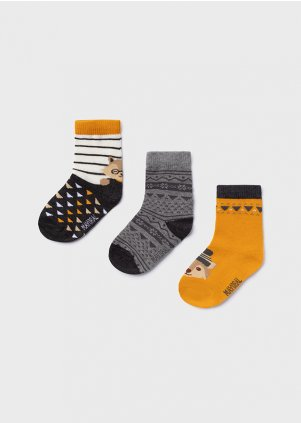 Set of three fox socks for baby boy, Ochre