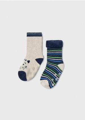 Set of two cat socks for baby boy, Blue