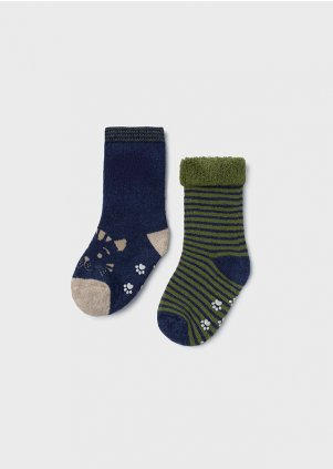 Set of two cat socks for baby boy, Hunt green