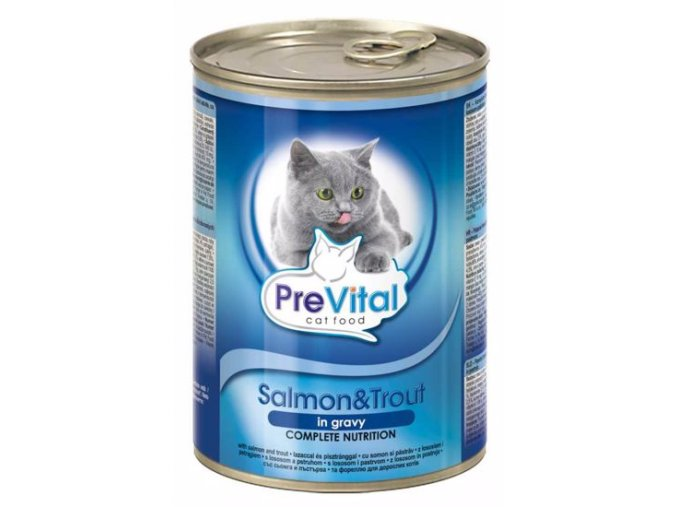 konzerva pro kočky, pstruh a losos Prevital