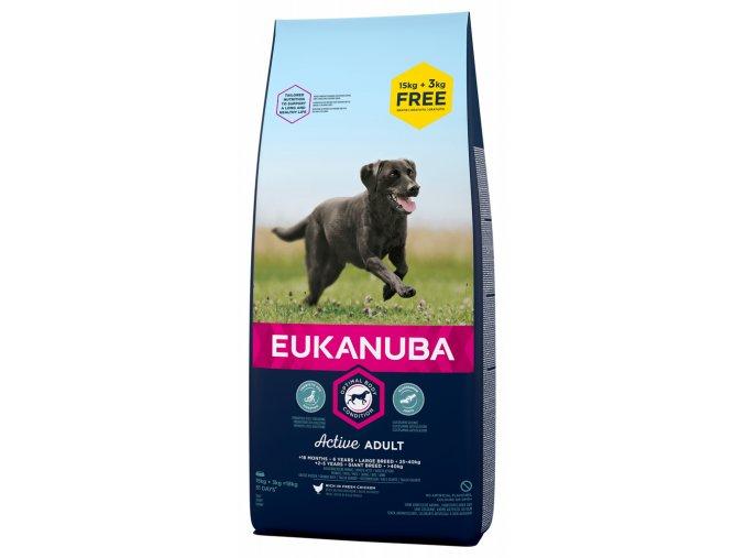 Eukanuba Adult Large Breed 15 kg + 3kg zdarma krmivo pro dospělé psy