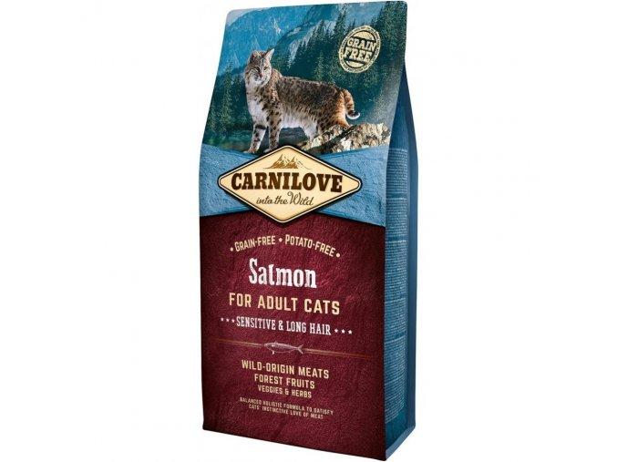 Carnilove Salmon for Adult Cats Sensitive & Long Hair 6 kg pro citlivé
