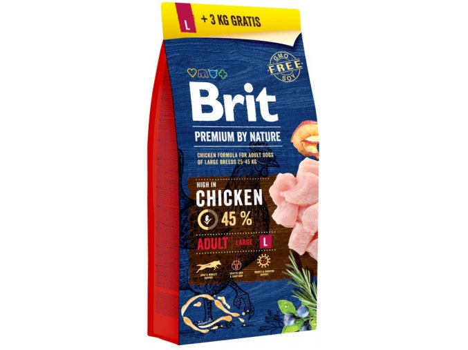 Brit Premium by Nature Dog Adult L 15 + 3 kg zdarma