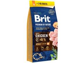 Brit Premium by Nature Dog Adult M 15 kg + 3 kg zdarma