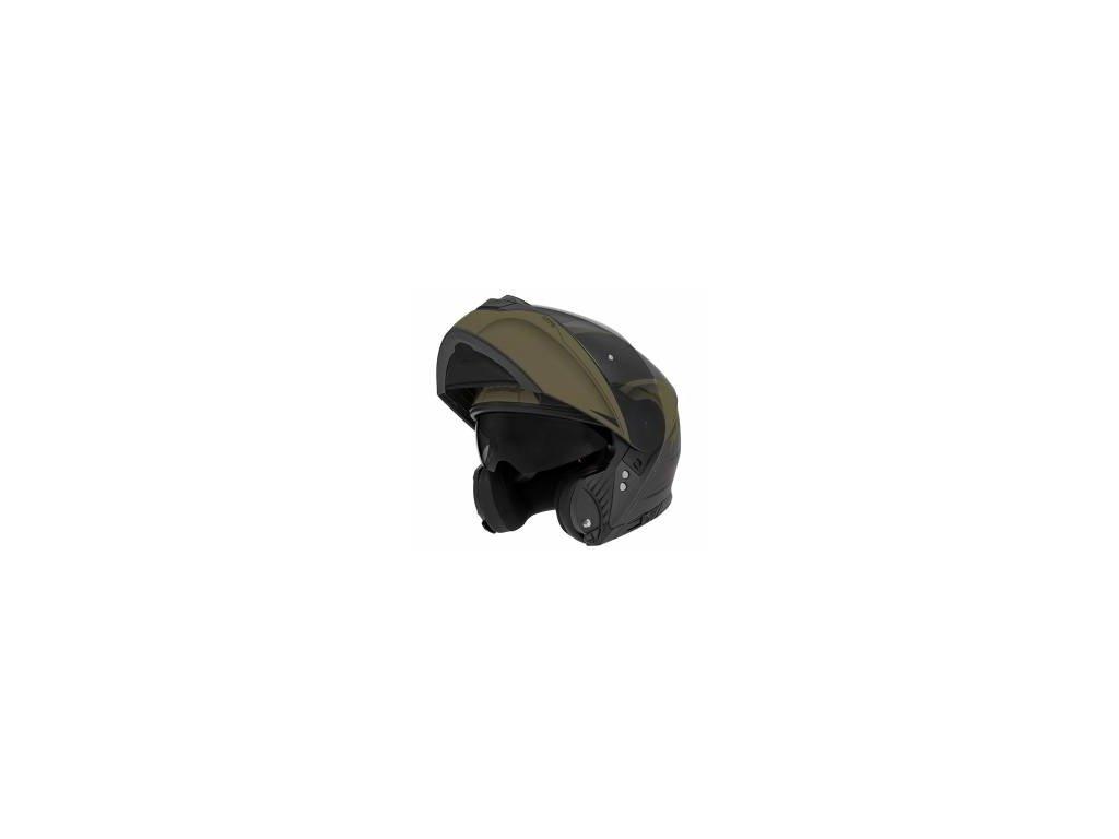 Prilba N965 EKO, NOX (čierna matná/zelená khaki)