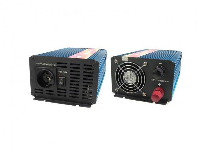 Měnič napětí Carspa P1000-12, 12V/230V1000W čistá sínusovka