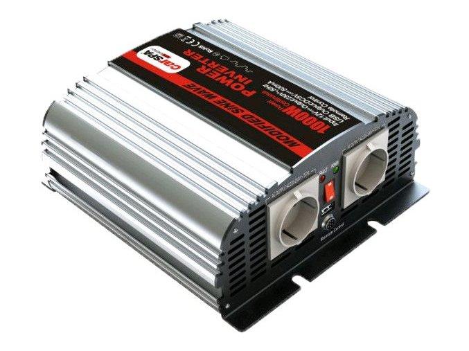 Měnič napětí Carspa MS1000UR-122, 12V/230V+USB 1000W, modifikovaná sinus, dálkové ovládání na kabelu
