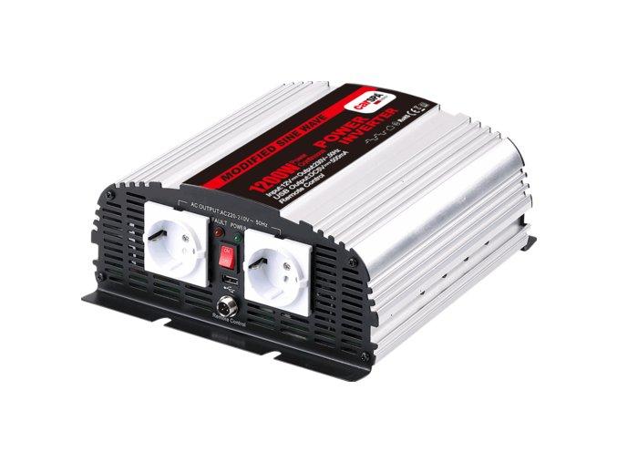 Měnič napětí Carspa MSD1200UR-122, 12V/230V+USB 1200W, modifikovaná sinus, dálkové ovládání na kabelu, digital display