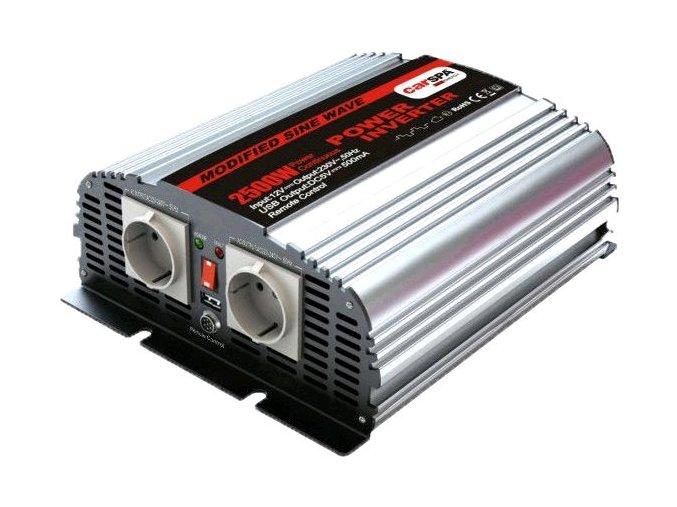 Měnič napětí Carspa MSD2500UR-122 12V/230V+USB 2500W, modifikovaná sinus, dálkové ovládání na kabelu, digital display