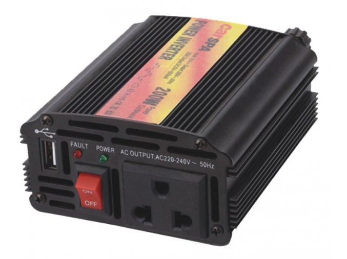 Měnič napětí Carspa CAR200U-24, 24V/230V+USB 200W modifikovaná sínus