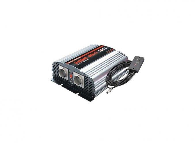 Měnič napětí Carspa MSD2000UR-242, 24V/230V+USB 2000W, modifikovaná sinus, dálkové ovládání na kabelu, digital display
